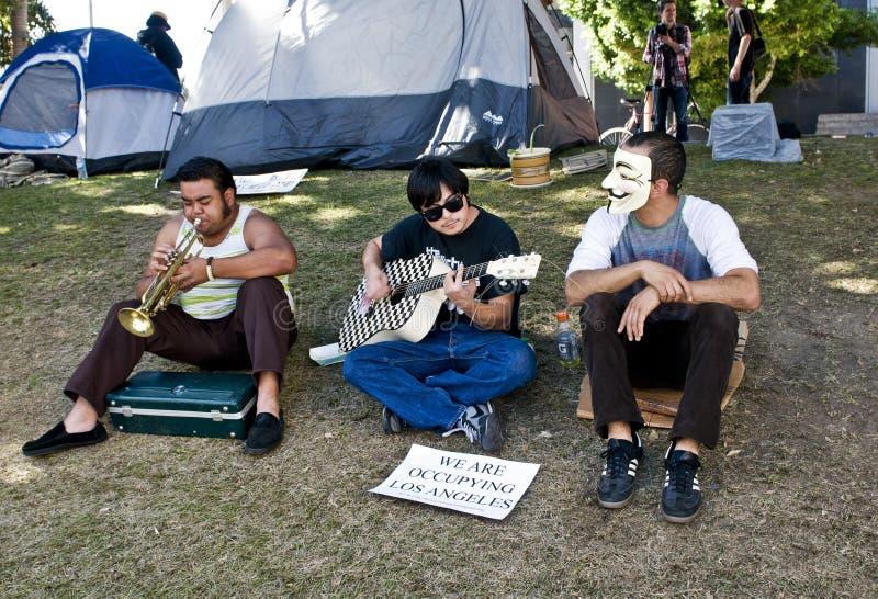 Musiker am Protest der Beschäftigung-L.A. stockfotos
