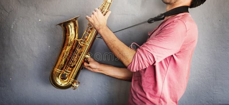 Musiker Saxophone Jazz Artist Passion Concept arkivbilder