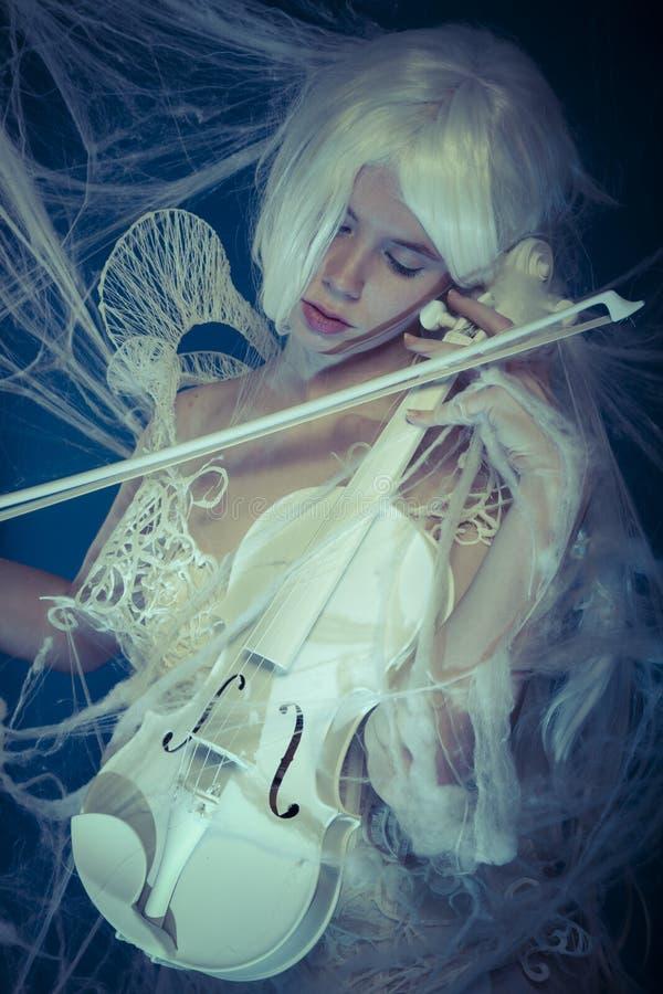 Musiker, schöner Violinist eingeschlossen in einem Spinnennetz lizenzfreie stockfotografie