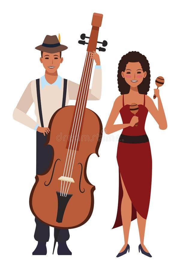 Musiker som spelar basen och maracas vektor illustrationer