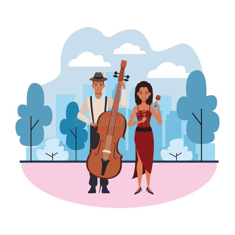 Musiker som spelar basen och maracas royaltyfri illustrationer