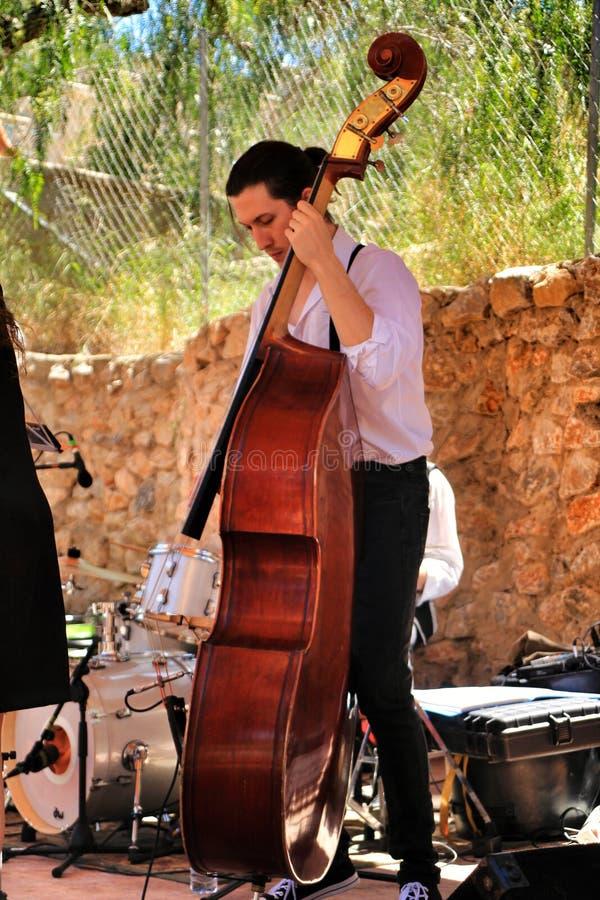 Musiker som spelar basfiolen i en jazzband arkivbild