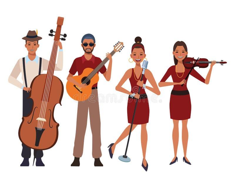 Musiker som spelar i en musikband vektor illustrationer