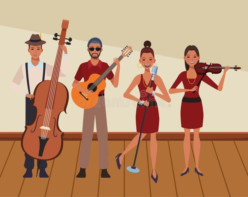 Musiker som spelar i en musikband royaltyfri illustrationer