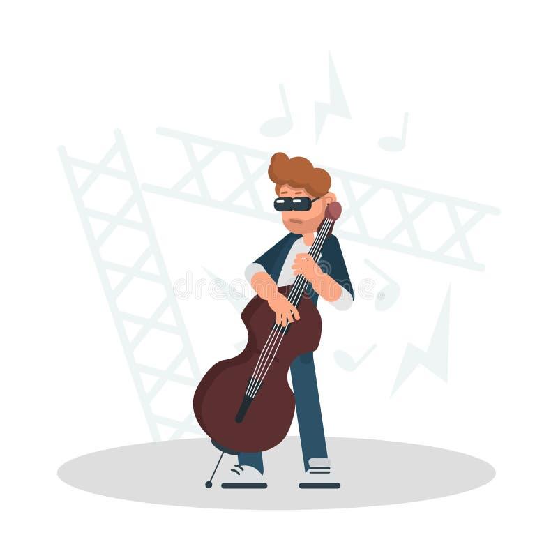 Musiker spielt die Cellofarbflache Illustration vektor abbildung