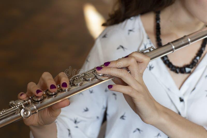Musikerflöjtisten Girl Flute Player royaltyfri foto