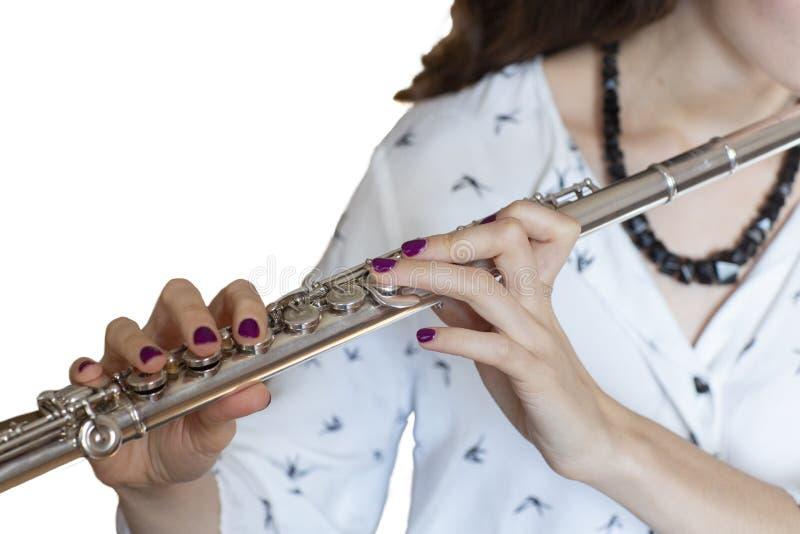 Musikerflöjtisten Girl Flute Player isolerade bild royaltyfri foto