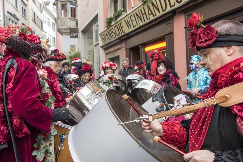 Musikerkarneval Zürich stockfotografie