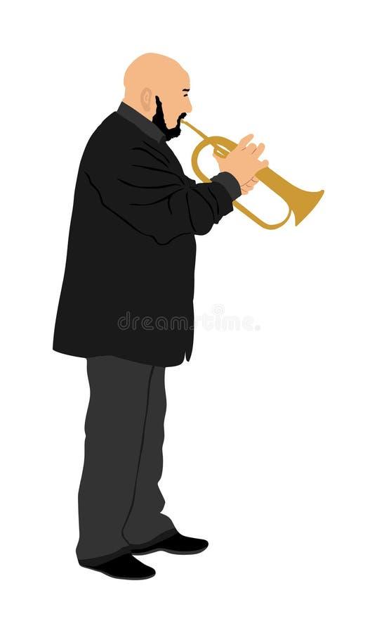 Musikerman med trumpeten på etappvektorn som isoleras på vit bakgrund Musikm?n Jazzman Aktör för hornblåsarekonstnärgata stock illustrationer
