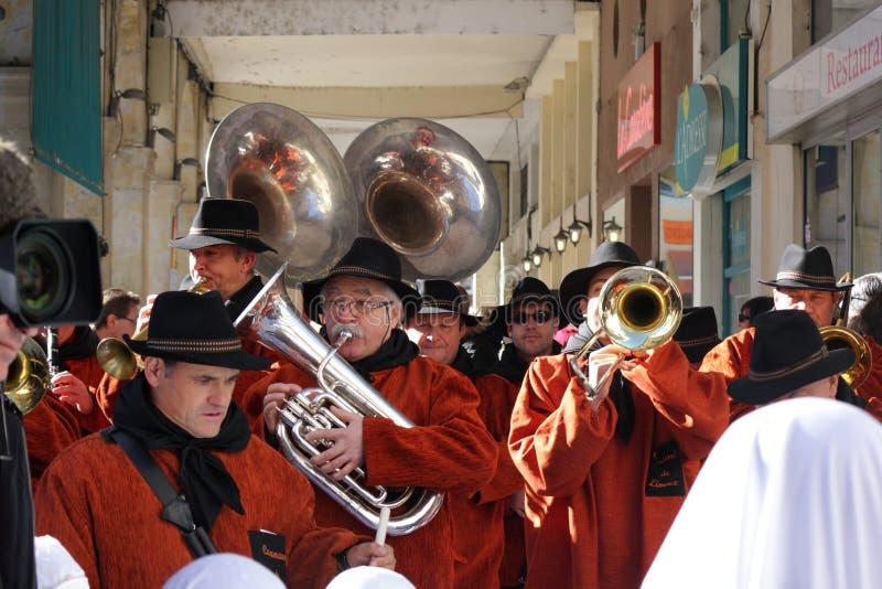 Musikermusikband under karneval av Limoux royaltyfri bild