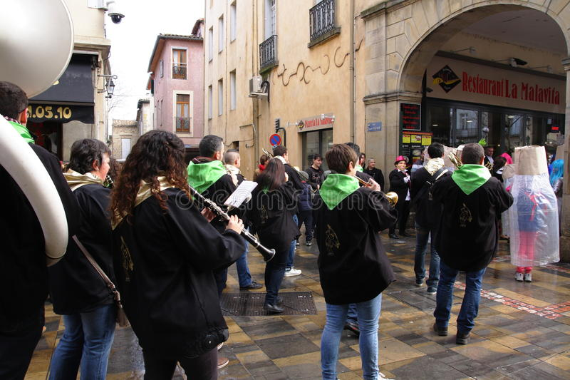 Musikermusikband under karneval av Limoux fotografering för bildbyråer
