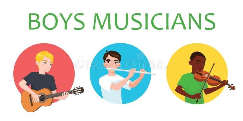 Musikerpojkar inspireras för att spela olika musikinstrument Violinist flöjtist, gitarristVector illustration in vektor illustrationer