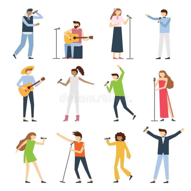 Musikersängerleute Vernehmbarer Sängerkünstler, Gesangdivaoper mit mic und Musiker singen Liedkonzertvektor flach lizenzfreie abbildung