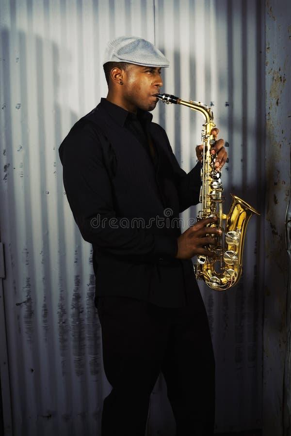 musikersaxofon royaltyfri fotografi
