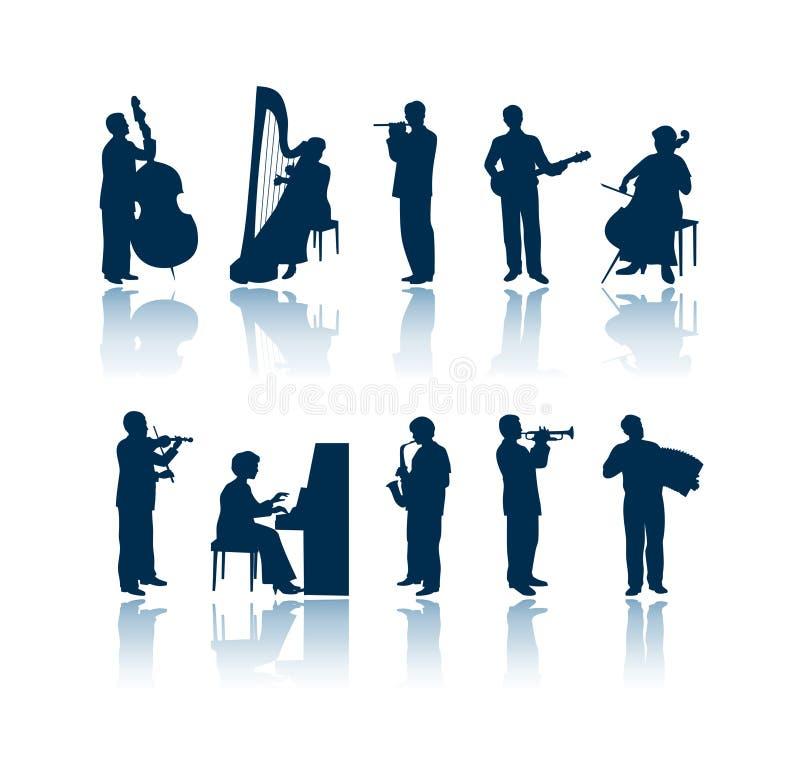 Musikerschattenbilder lizenzfreie abbildung