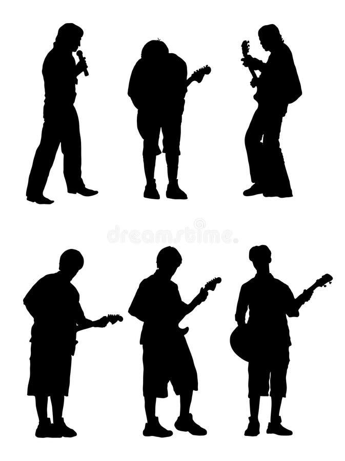 musikersilhouette stock illustrationer
