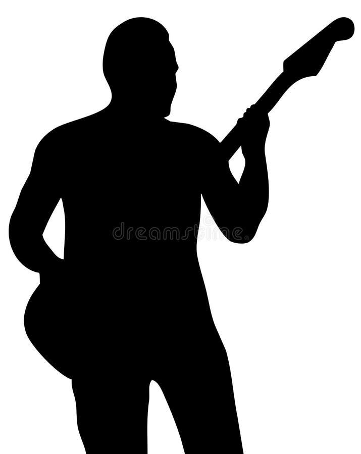 musikersilhouette royaltyfri illustrationer