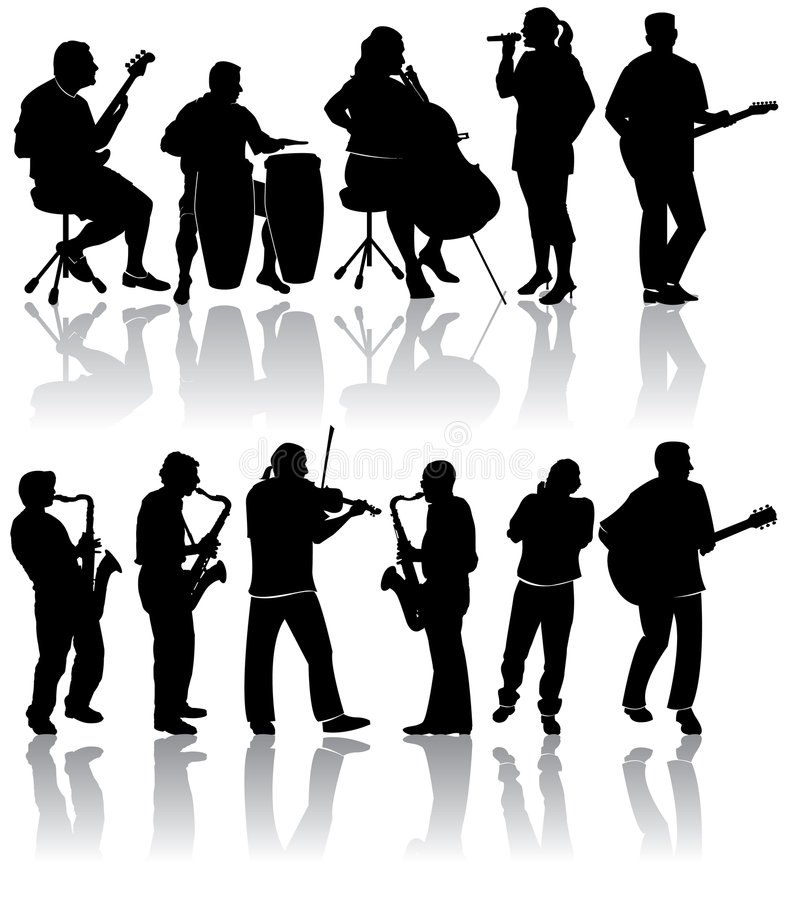 musikersilhouettes stock illustrationer