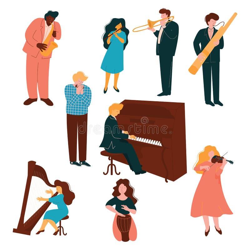 Musikertecken ställde in, folk som spelar på klassisk illustration för vektor för musikinstrument stock illustrationer
