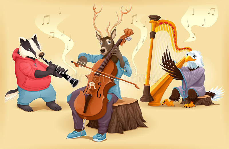 Musikertecknad filmdjur stock illustrationer