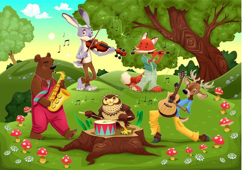 Musikertiere im Holz. stock abbildung