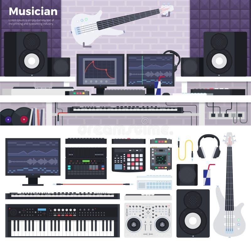 Musikerworkspace med musikinstrument vektor illustrationer