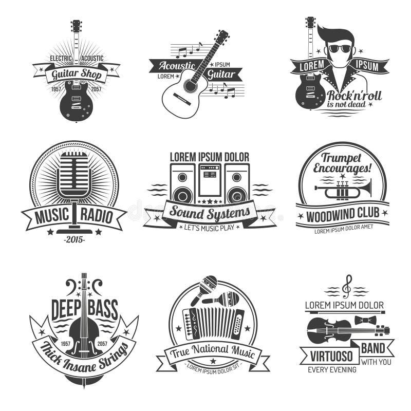 Musiketikettuppsättning vektor illustrationer