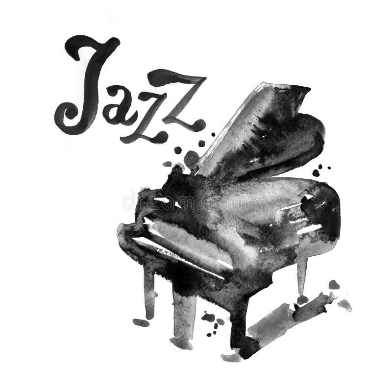 Musikfestival, affischbakgrundsmall Vattenfärgpiano med bokstäver stock illustrationer