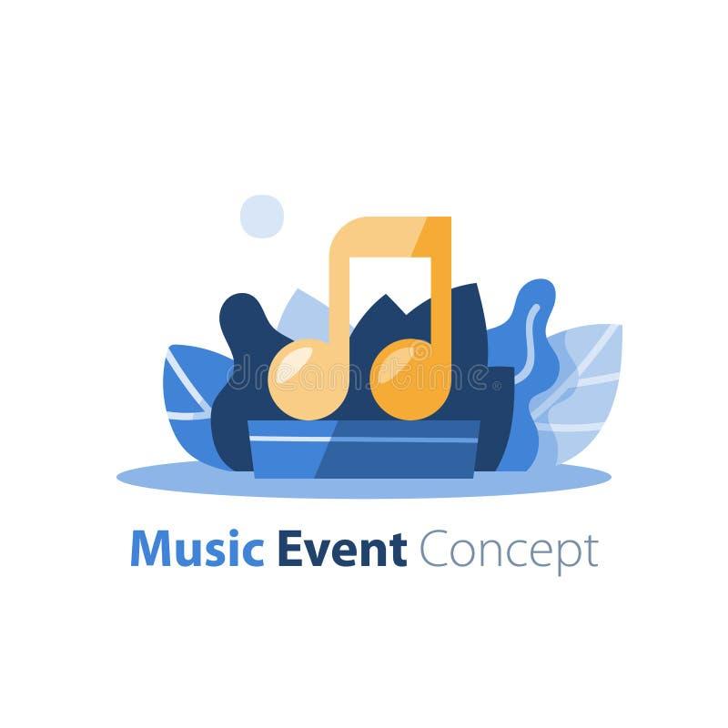 Musikfestival, utomhus- konsert, underhållningkapacitet, festlig händelseordning vektor illustrationer