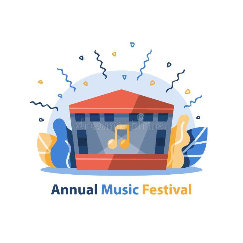 Musikfestival, utomhus- konsertetapp med det gavelf?rsedda taket, underh?llningkapacitet, festlig h?ndelseordning stock illustrationer