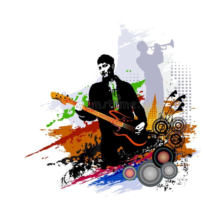 Musikfestivalhintergrund für Partei, Konzert, Jazz, Rockfestivaldesign mit Musiker-, Gitarrist- und Saxophonspieler lizenzfreie abbildung