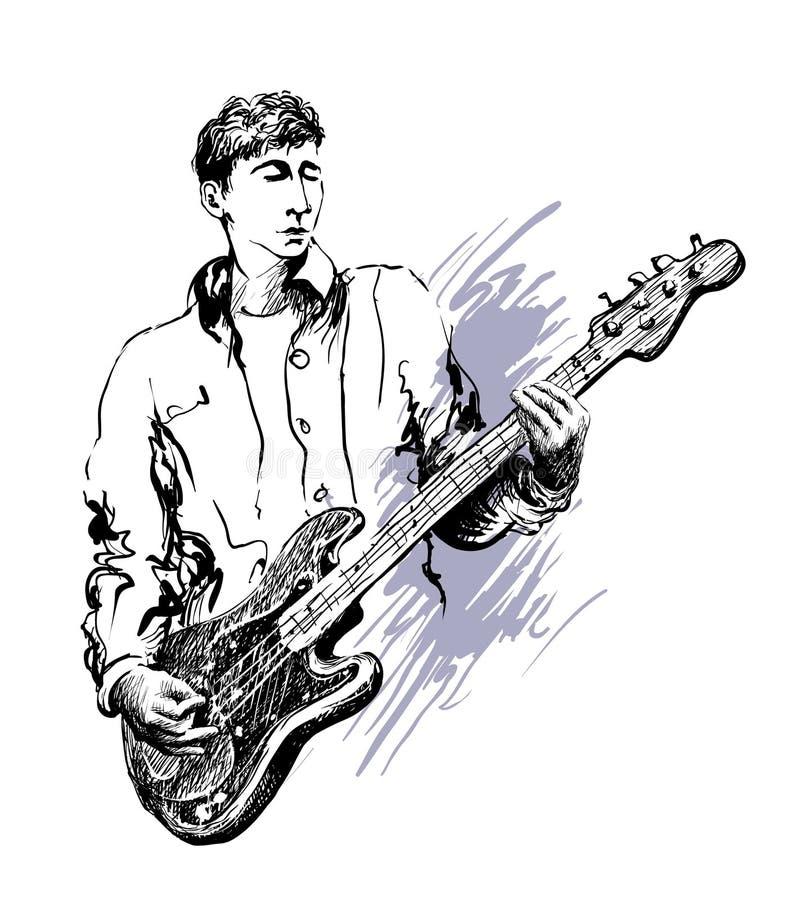 Musikfestivalhintergrund für Partei, Konzert, Jazz, Rockfestivalentwurf mit Musiker, Gitarrist vektor abbildung