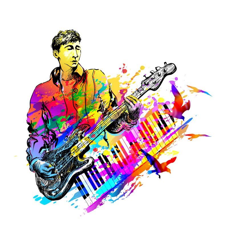 Musikfestivalhintergrund für Partei, Konzert, Jazz, Rockfestivalentwurf mit Musiker, Gitarristen und Fliegenvögel stock abbildung