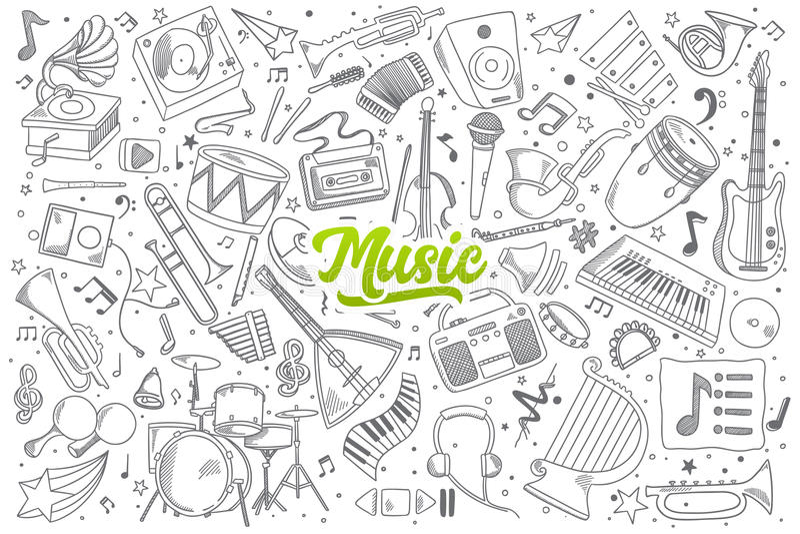 Musikgekritzel eingestellt mit Beschriftung stock abbildung