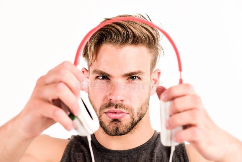 Musikgeschmack Überprüfen Sie heraus Musikalbum Musik als tägliche Therapie Audiotraining für Motivation H?rt Musik fachmann lizenzfreies stockbild