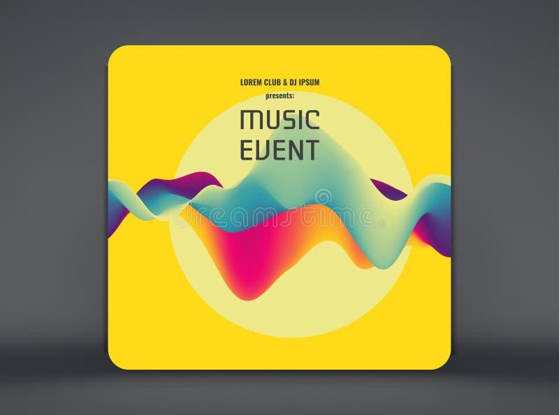 Musikh?ndelsereklamblad eller baner Partidesign med stället för text krabb bakgrund 3D med dynamisk effekt ocks? vektor f?r corel stock illustrationer