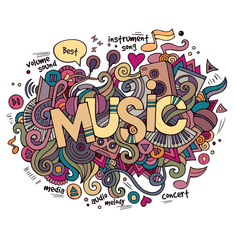 Musikhandbokstäver och klotterbeståndsdelar stock illustrationer