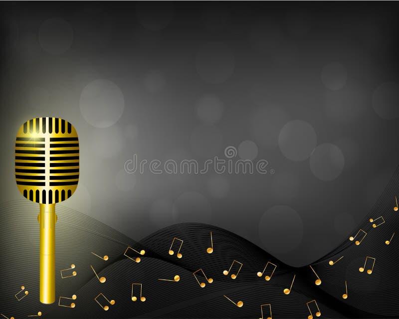 Musikhintergrund mit Mikrofon und Anmerkungen vektor abbildung
