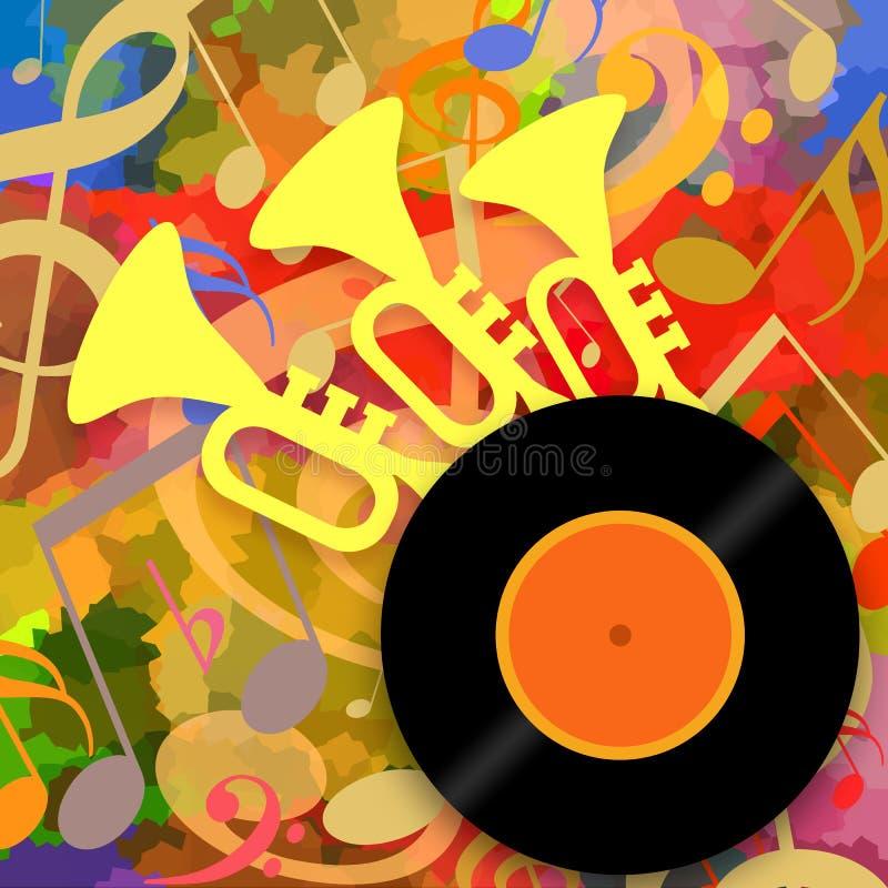 Musikhintergrund mit Trompeten und Vinyldiskette lizenzfreies stockfoto