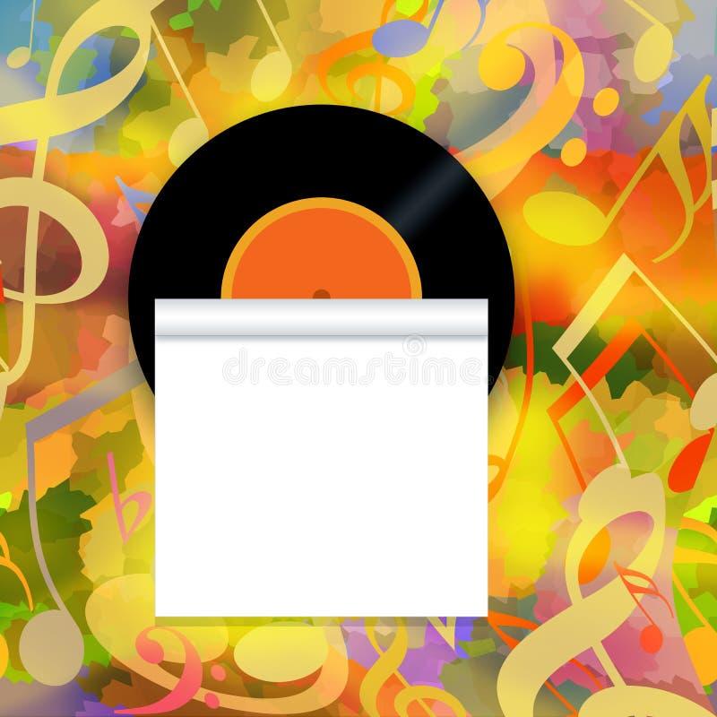 Musikhintergrund mit Vinylaufzeichnung und -rolle stockfotografie