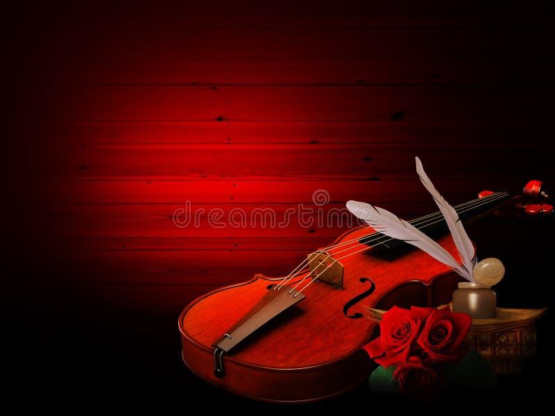 Musikhintergrund mit Violine und Rosen vektor abbildung
