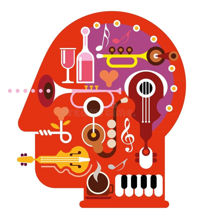 Musikhuvud royaltyfri illustrationer