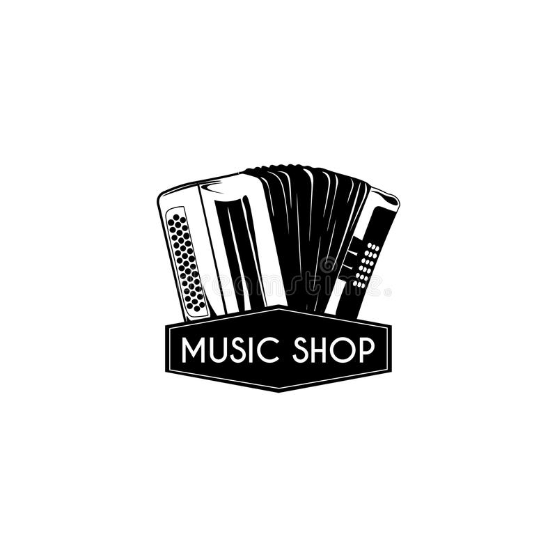 Musikinstrument des Akkordeons Musikshoplogo Musikspeicher-Aufkleberemblem Vektor lizenzfreie abbildung