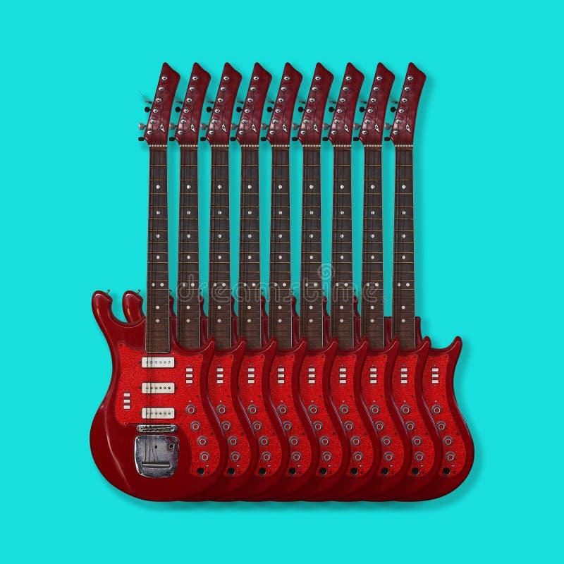 Musikinstrument - E-Gitarren auf einem blauen Hintergrund lizenzfreies stockbild