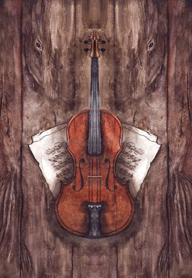 Musikinstrument för lurendrejeri för vattenfärgtappningfiol med musikanmärkningar på trätexturbakgrund stock illustrationer