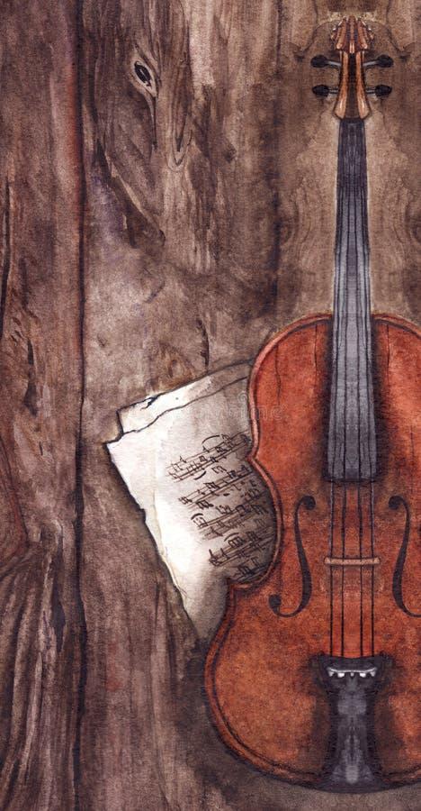 Musikinstrument för lurendrejeri för vattenfärgtappningfiol med musikanmärkningar på trätexturbakgrund royaltyfri illustrationer