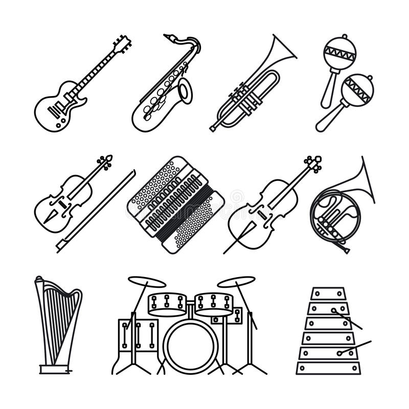 Musikinstrument gör linjen symboler tunnare stock illustrationer
