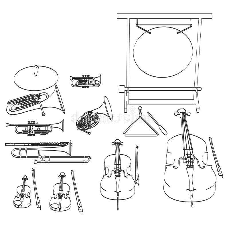 Musikinstrument - orkester royaltyfri illustrationer