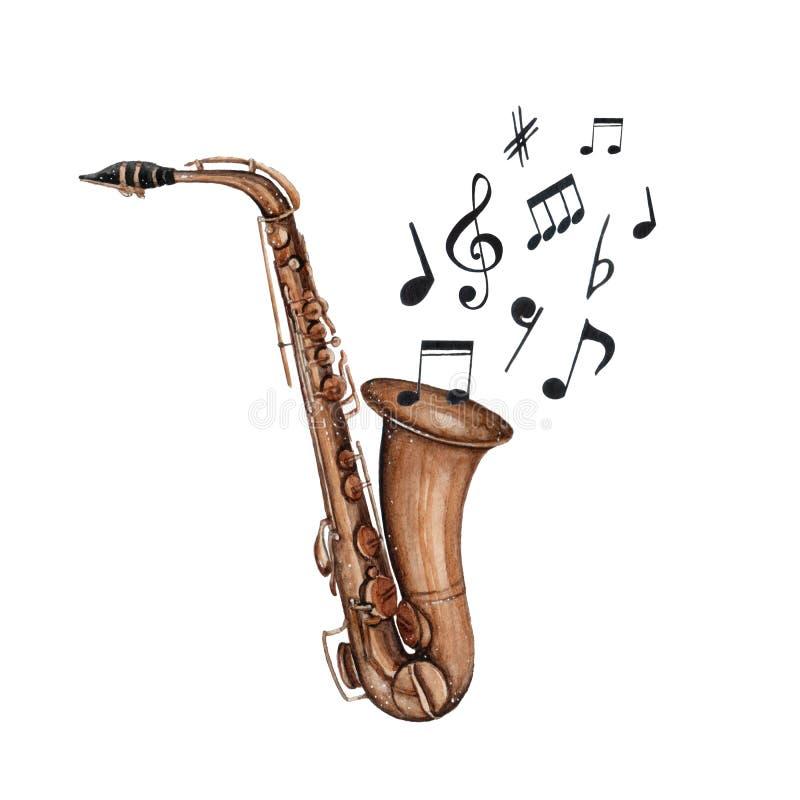 Musikinstrument-Saxophon illistration des Aquarells lokalisiert auf weißem Hintergrund vektor abbildung