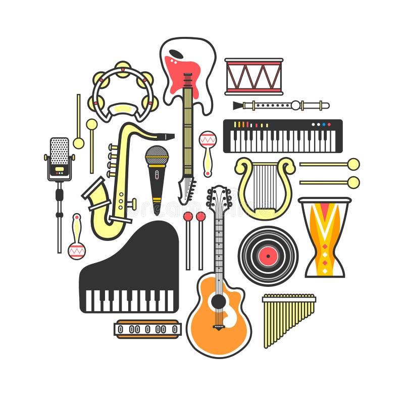 Musikinstrument som bildas i proper cirkelillustration royaltyfri illustrationer